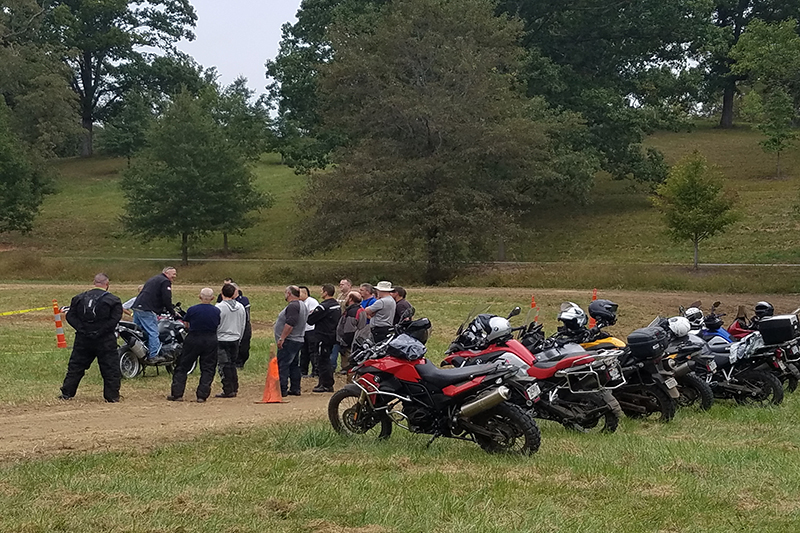 A group of adventure motorcyclists participating in a Rawhyde training session. Photo by Anthony Sicola.