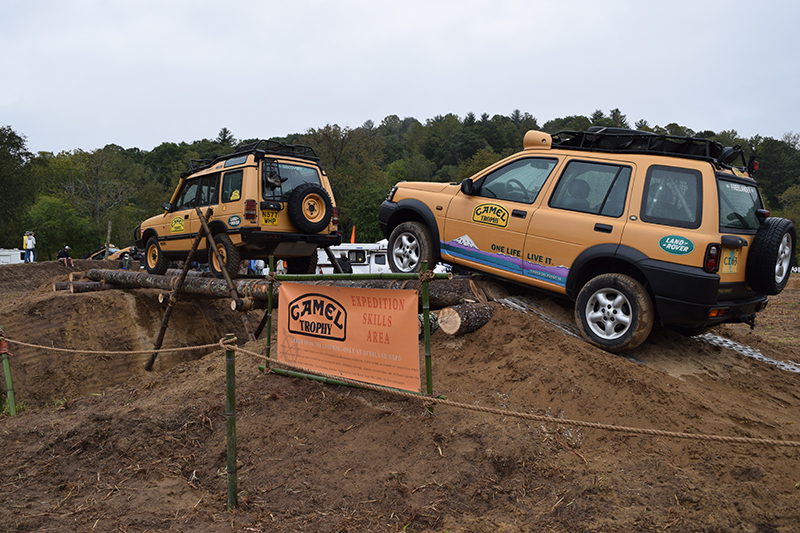The staff from 7P International was on-site to provide personalized instruction and these Camel Trophy vehicles crossing a log bridge drew a lot of attention.