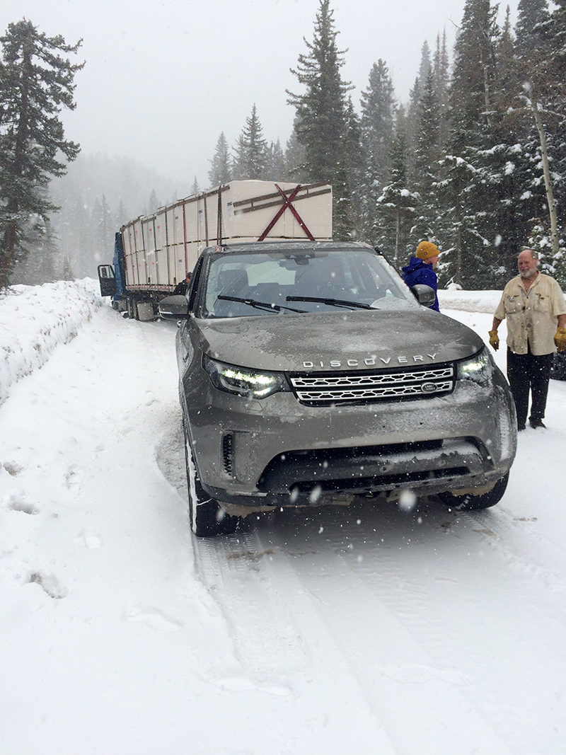 Snow testing the all-new Discovery and in this case, helping tow an 18-wheeler at altitude that had slid across the road in icy conditions.