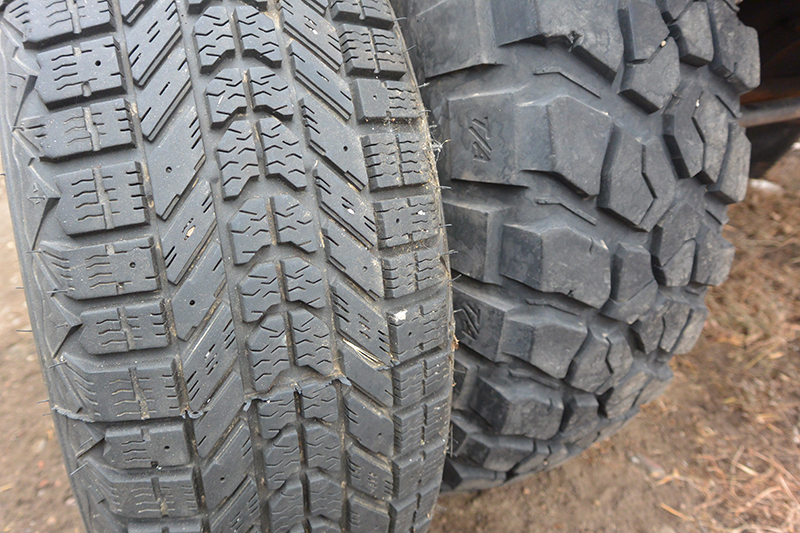 Siping and stud holes on winter tires (here the Firestone Winterforce) show a marked deviation from a mud terrain tire. The siping alone will vastly improve traction in icy conditions.