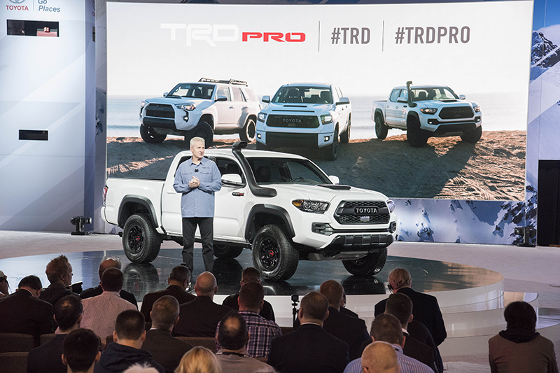 Toyota Tacoma, Tundra and 4Runner TRD Chicago Auto Show Debut Chicago – February 8, 2018 – Jack Hollis, Group Vice President and General Manager, Toyota Division unveiled TRD Pro trim level offerings for Tacoma, Tundra and 4Runner at the Chicago Auto Show. Featuring heavy-duty suspension upgrades, higher ground clearance and blacked-out-exterior trim, all will be available in an exclusive color – Calvary Blue.